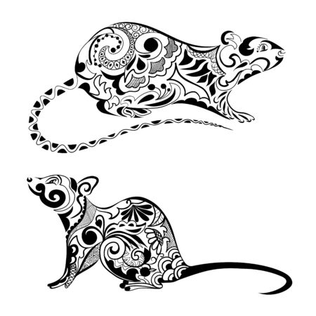 Silhouette of a rat. Rat ornament. Symbol of chinese new year. Zodiac sign of the chinese horoscope 免版税图像 - 133662917
