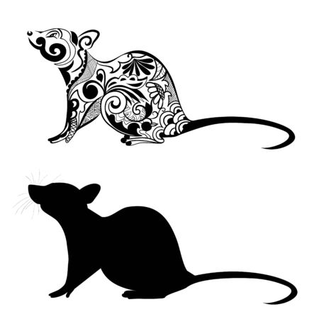 Silhouette of a rat. Rat ornament. Symbol of chinese new year. Zodiac sign of the chinese horoscope