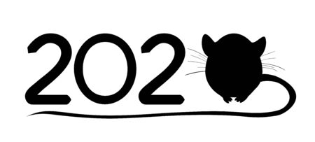 New Year 2020. Black and white text 2020