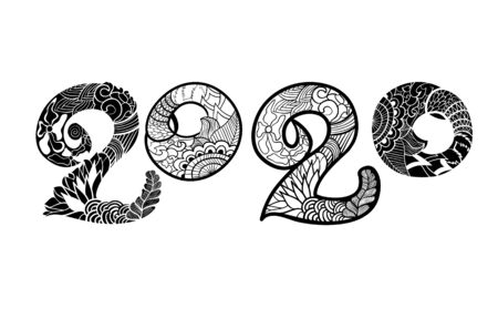 New Year 2020. Black and white text 2020 New Year 2020. Black and white text 2020 in style zentangle (ethnic, doodle).