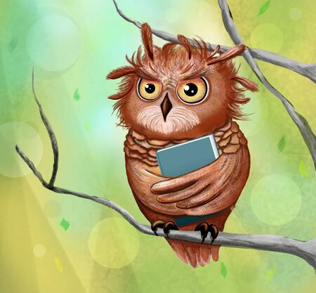 Cartoon clever owl with a book on white background 免版税图像 - 133989368