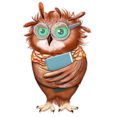 Cartoon clever owl with a book on white background