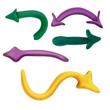 Colored (yellow, green, violet) arrows. Mesh