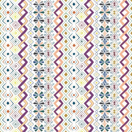 Geometric seamless pattern in style (ethnic, doodle). Vertical colored striped background Illustration