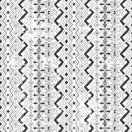 Geometric seamless pattern in style (ethnic, doodle). Vertical black and white striped background. Shabby grunge background.