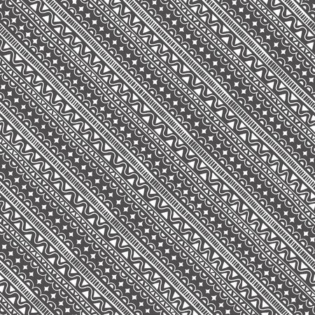 Geometric seamless pattern in style (ethnic, doodle). Diagonal black and white striped background 免版税图像 - 142814885