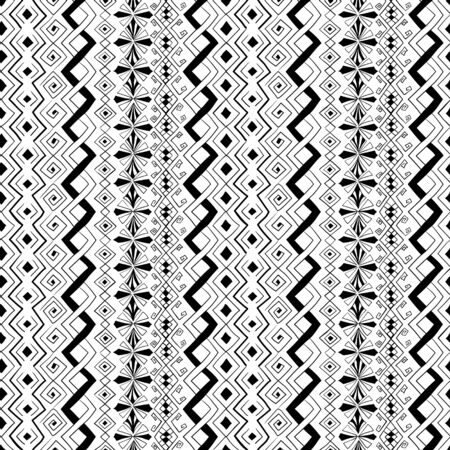 Geometric seamless pattern in style (ethnic, doodle). Vertical black and white striped background