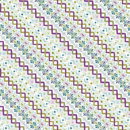 Geometric seamless pattern in style (ethnic, doodle). Diagonal colored striped background