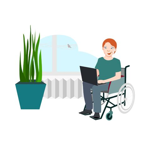 Man in a wheelchair with a laptop