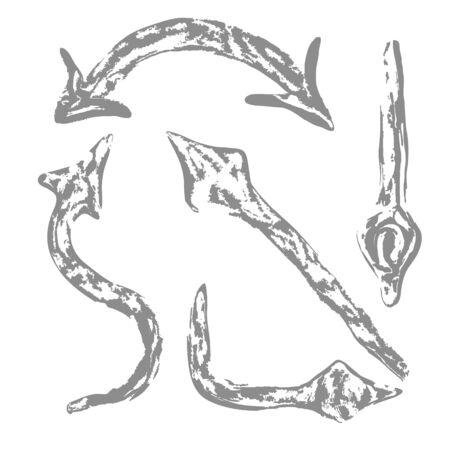 Set of black grunge arrows on a white background