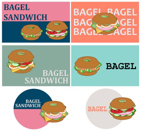 Bagel sandwich logo sticker