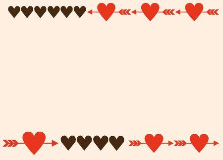Arrow-stuck heart horizontal line frame Stock Illustratie