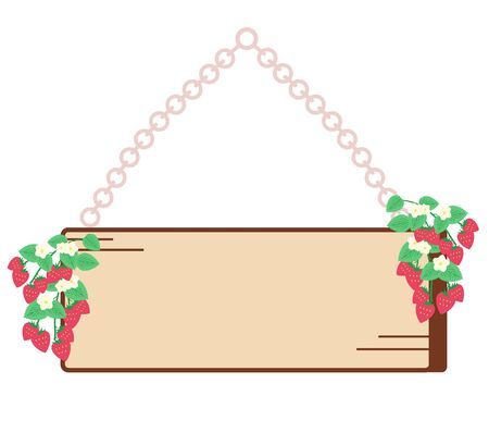 Strawberry and wood grain signboard Stock Illustratie