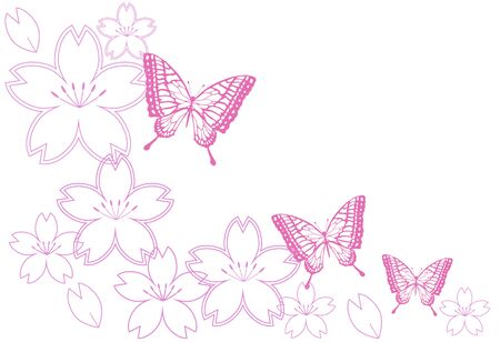 Cherry Blossoms and Butterflies