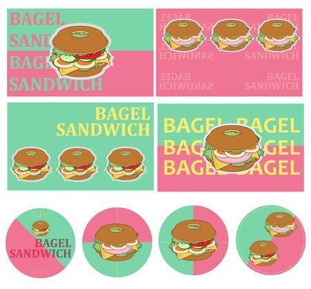 Bagel Label Set Vector Illustration