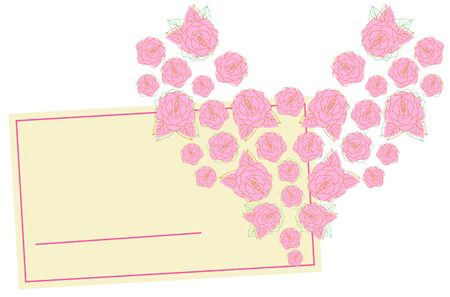 Rose flowers and cards lined up in the heart 写真素材 - 142701489