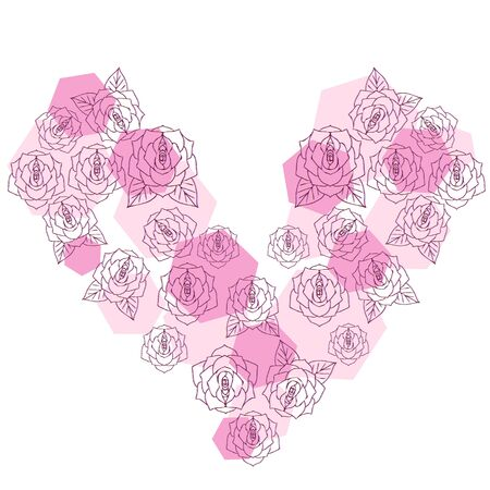 The rose flower which lined up in the heart type