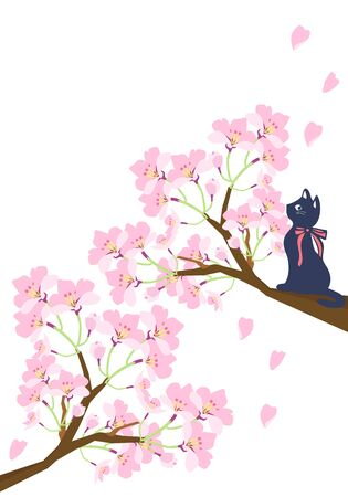 Illustration of a cat climbing a tree with cherry blossoms