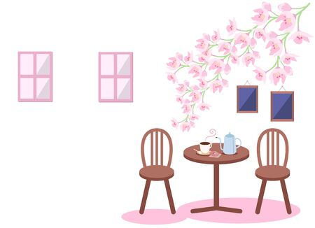 Cherry blossoms and a view of the café