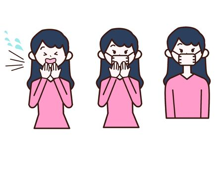 Illustration of a woman coughing and wearing a mask