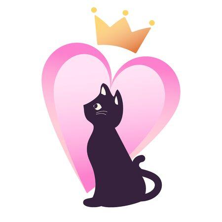 Heart, Crown and Cat Illusztráció