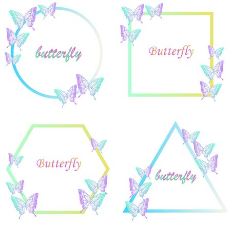Four shapes and butterfly decorative frames  イラスト・ベクター素材