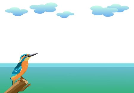 Kingfisher and sea background material 矢量图像
