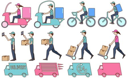 Set illustration of the person delivering the package