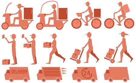 Silhouette illustration of delivery man, bicycle and truck