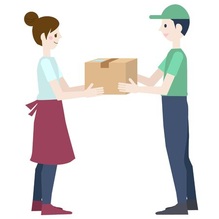 A woman and a male delivery man who receives a package Ilustração