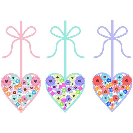 Flower and heart-shaped ornament material Illusztráció