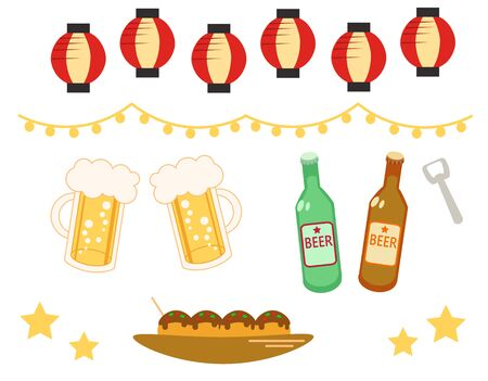Beer and lanterns illustration material