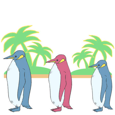 Illustration of three penguins and palm trees