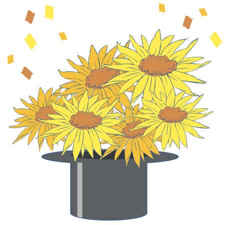 Frame illustration of sunflower with margins  イラスト・ベクター素材