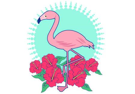 Flamingo and Hibiscus icon illustrations