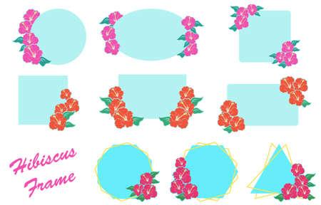 Hibiscus decorative frame set