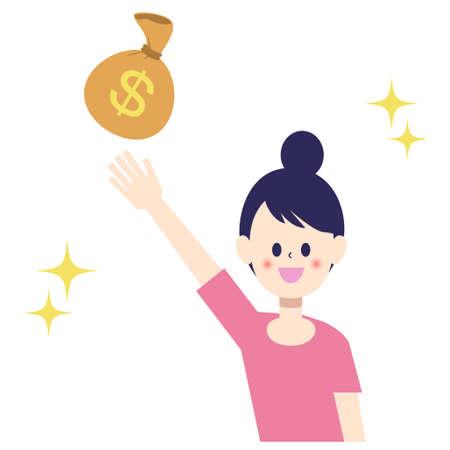 Women appealing money bags  イラスト・ベクター素材