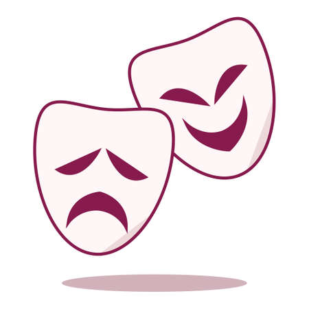 Comedy and Tragedy Mask icon illustration