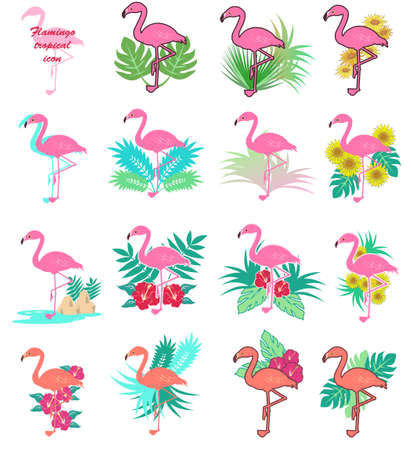 A set of tropical icons for flamingo
