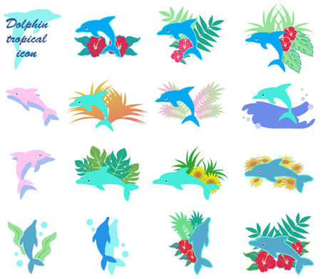 A set of tropical dolphin icons