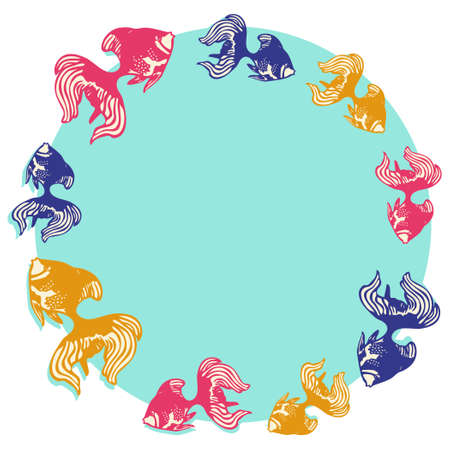 Illustration of a round frame lined with goldfish  イラスト・ベクター素材