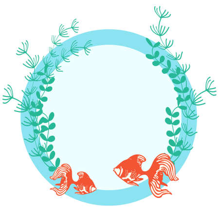 Round frame illustration of goldfish and water plants