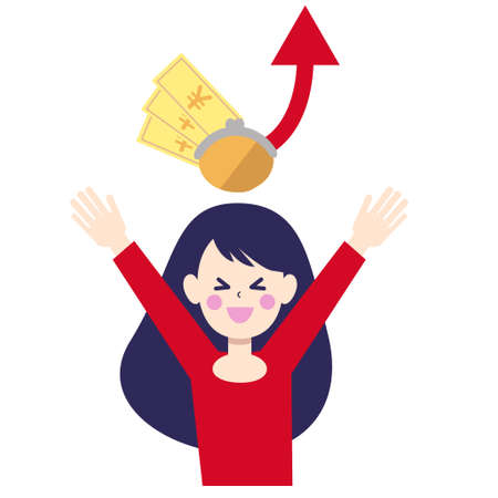 Illustration of a woman who is pleased with money up
