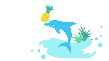 Dolphin and pineapple icon illustration