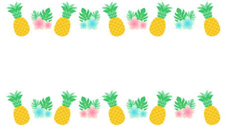 Plumeria and pineapple line decorations  イラスト・ベクター素材