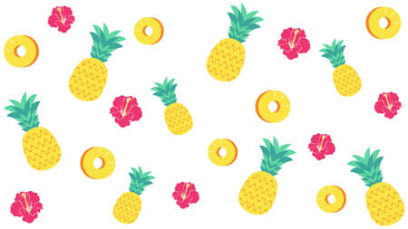 Pineapple and Hibiscus Background Materials  イラスト・ベクター素材