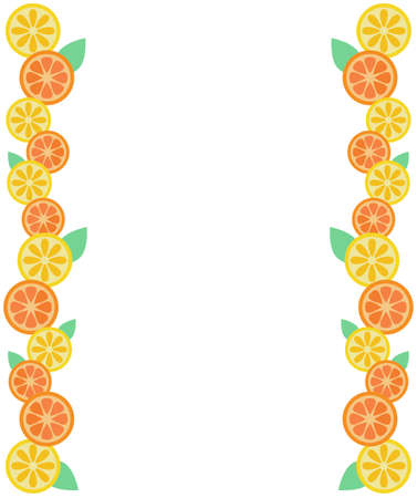 sliced orange and lemon border  イラスト・ベクター素材