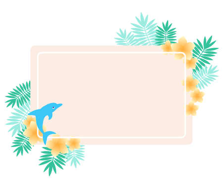 Tropical frame of plumeria and dolphin