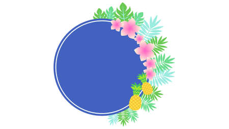 Pineapple and Plumeria Frame Illustration  イラスト・ベクター素材