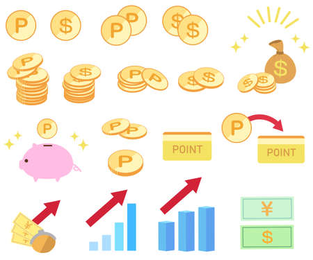 Set of coins and money rise icons  イラスト・ベクター素材